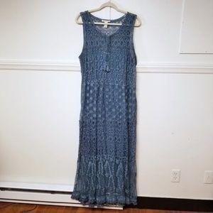 Indigo Thread Lace Pigment Washed Overlay Dress